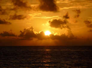 Sun rise on Long Bay- Big Corn Island