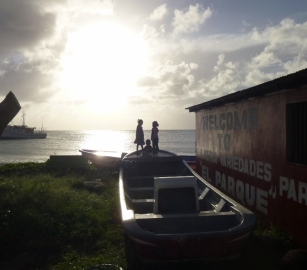 3 kids and a setting sun - Big Corn Island
