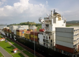 Almost no room to spare! Ship in transit in Panama Canal