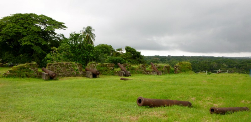 Scattered cannons at San Lorenzo Fort Ruins - 17th Century UNESCO world heritage site