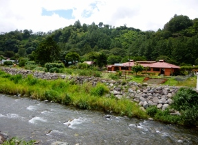 Stones along riverbanks to prevent flooding in Boquete, Panama