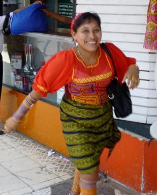 Kuna woman in traditional dress - Panama City, Panama
