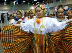 young girls wearing traditional clothes at festival, Panama