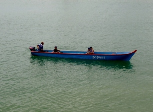 Traditional wooden boat with outboard - Bocas del Toro
