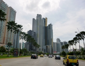 Panama City skyscrapers and traffic