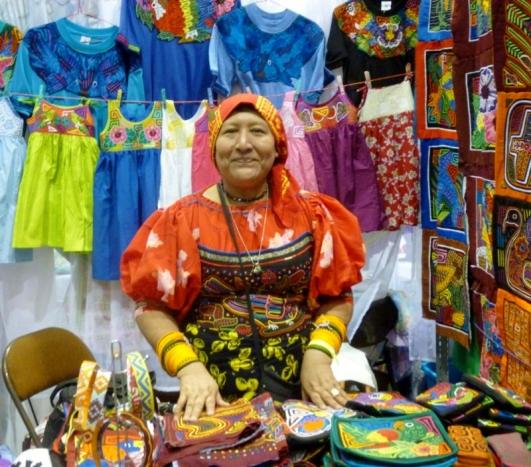 Kuna woman dressed in colorful traditional clothing - Panama City, Panama