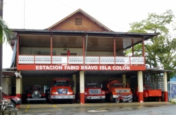 Fire Station with trucks from 1914 to present - Isla de Colon, Bocas del Toro