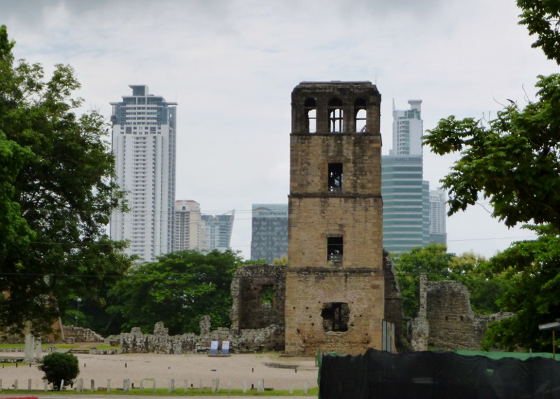 Panama Viejo with skyscrapers as backdrop