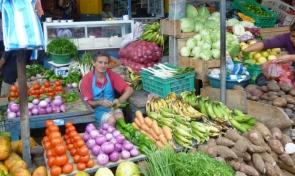 a vendor at Tarqui market, Manta