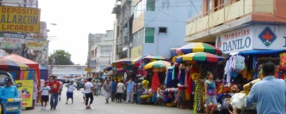 a street scene Saturday market, Manta