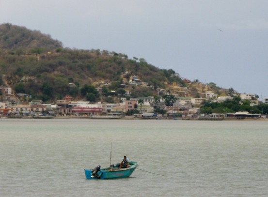 fisherman at anchor, Bahia from San Vicente