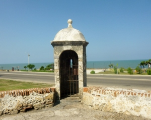 sentry post overlooking the Caribbean Sea