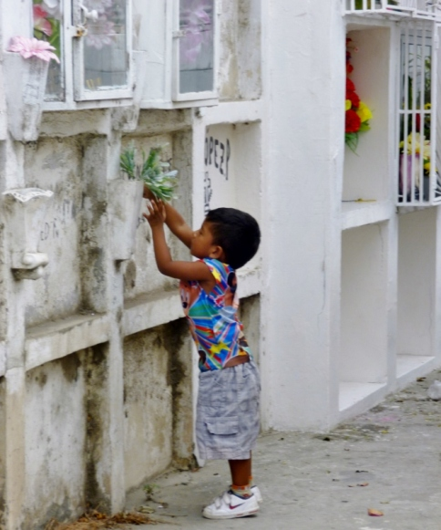 a child's contribution at a cemetery -Manta, Ecuador