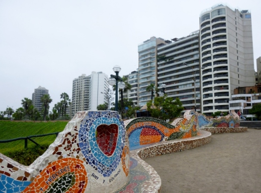 the mosaic wall in Love park - Lima