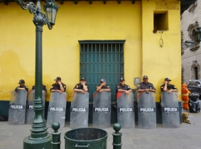Police Barricade - in anticipation of a demonstration in Lima, Peru