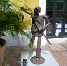 street sculptures in old city Cartagena