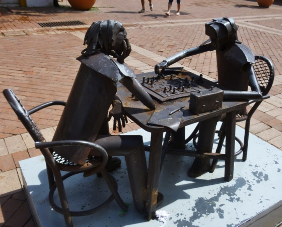 street sculptures in old city Cartagena