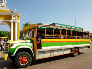 colorful city tour bus, Cartagena