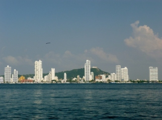 monastery on hill in background; Bocagrande in the foreground, Cartagena