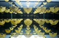 gold earring display in Gold Museum, Cartagena