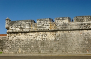 The wall surrounding Cartagena