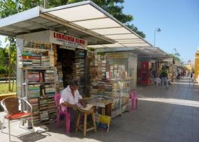 used books on sidewalk in park in Barrio Getsemani, Cartagena, Colombia