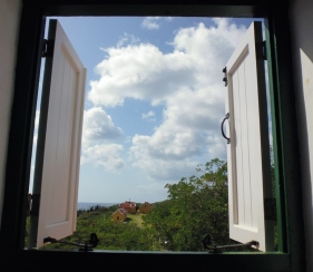 looking out the windows at Museum Tula