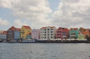 colorful businesses alongside Willemstad waterfront