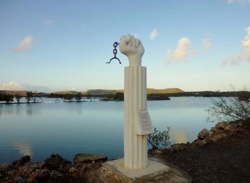 Clenched Fist - historical marker of slave's revolt