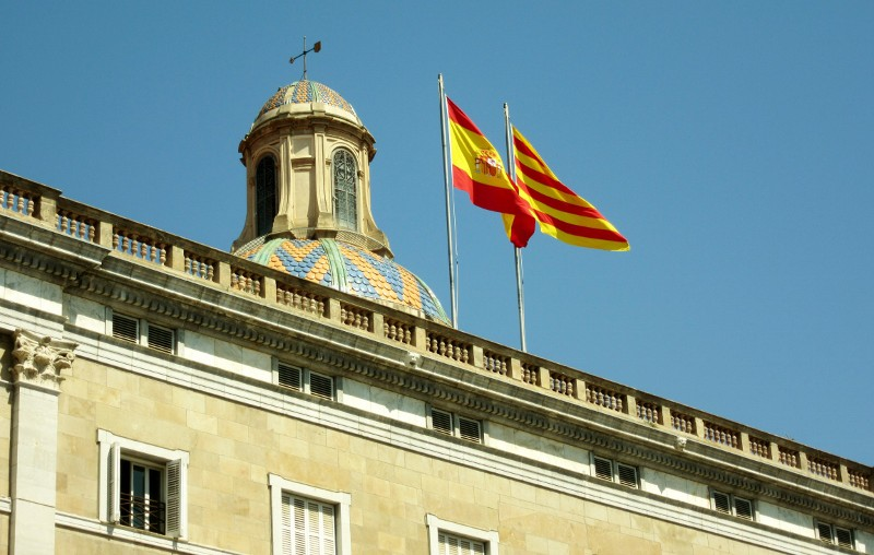Catalan flag of Barcelona and the flag of Spain