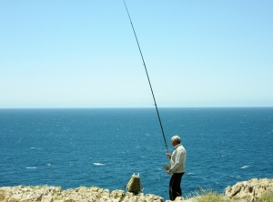 fisherman on cliffs