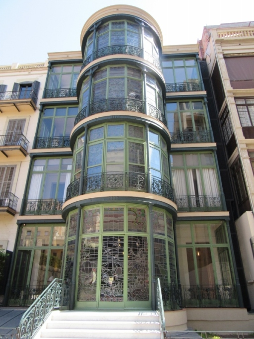 4 levels of stained glass windows - La Casa Lleo i Morera. Barcelona, Spain