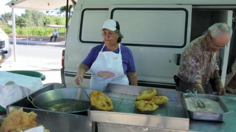 fried bread at Paderne street market, Portugal