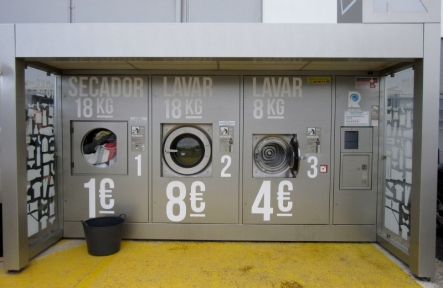 parking lot outdoor laundry at Intermarche, Almadena, Portugal