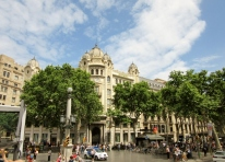 Barcelona, Spain . View from hop on - hop off bus