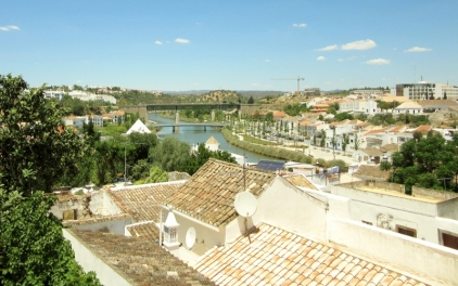 roof tops and train tracks/bridges in background, Tavira, Portugal
