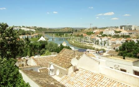 roof tops and train tracks/bridges in background, Tavira, Portugal