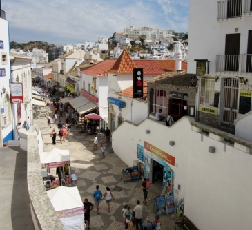 overlooking streets and shops, Albufeira, Portugal