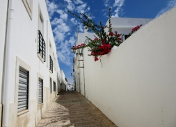 red-white and blue, street scene, Albufeira, Portugal