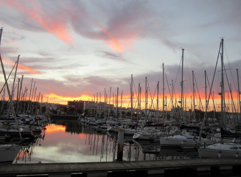 sunset on marina
