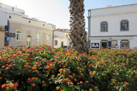 bright flowers and tile facade house - Ferragudo, Portugal