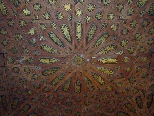ceiling of inlayed woods
