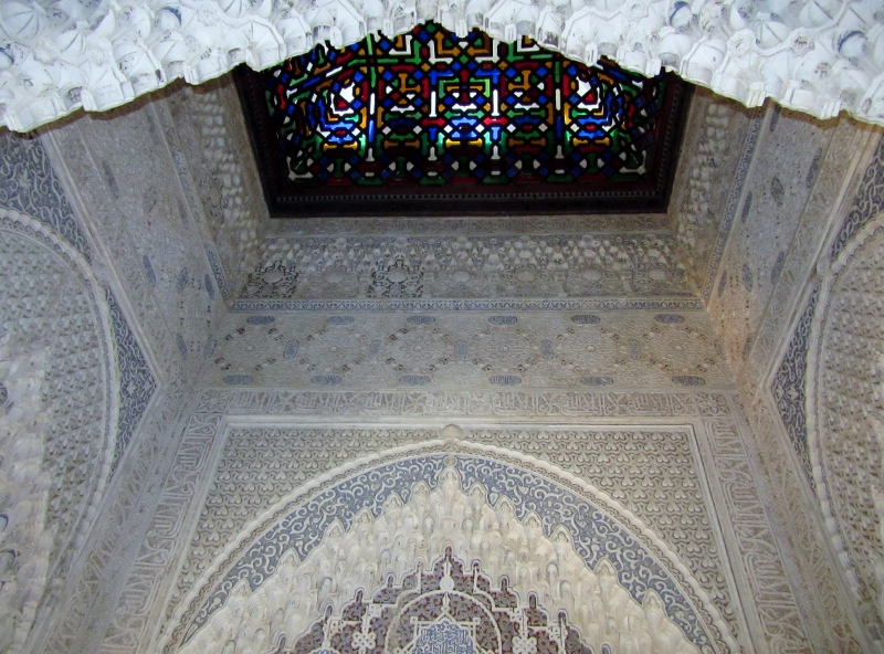 stained glass ceiling - possibly 14th or 15th century-The Alhambra