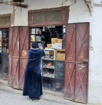 woman at Jewish Quarter Bakery in Fez, Morocco.
