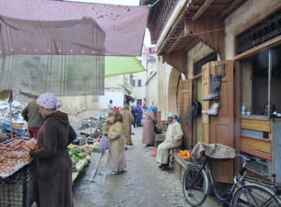 street market in Fez Medina-UNESCO WHS, Morocco.