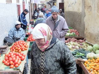 street market - Jewish Quarter in old medina of Fez, Morocco