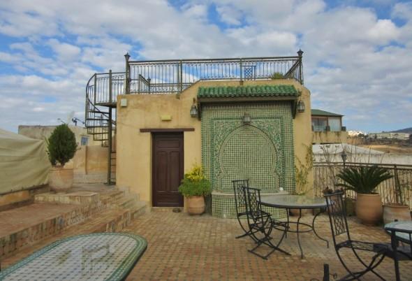 Rooftop terrace of Ryad Alya, Fez, Morocco.