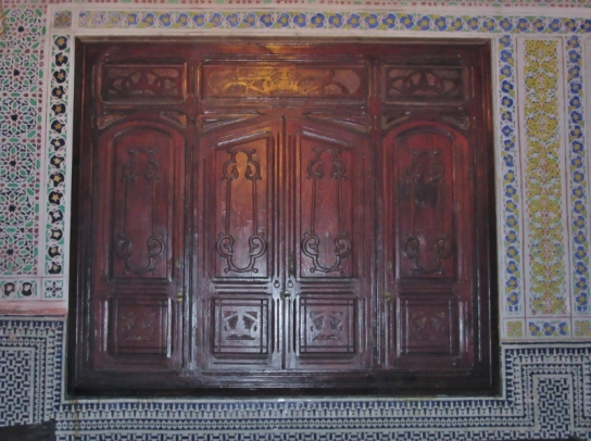 Carved doors for the torah in a Jewish synagogue. Fez, Morocco.