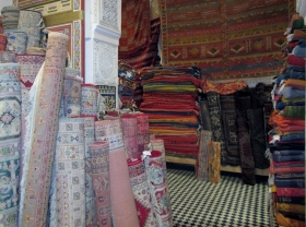 handwoven traditional carpets, Fez, Morocco.