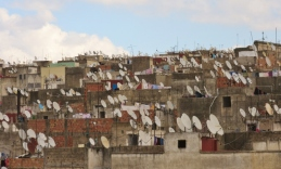 satellite dishes in old Fez Medina, Morocco.